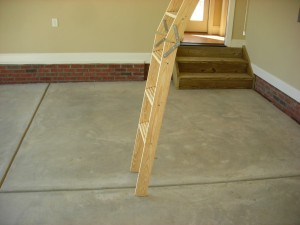Raleigh Home Inspection - Attic pull-down stair too short - New Construction